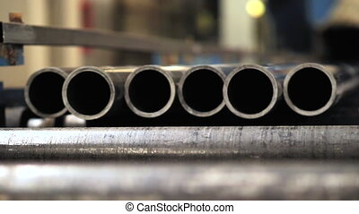 Metal Pipe Plant, close-up of metal pipes