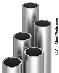 Metal pipes on warehouse. 3d rendering illustration.