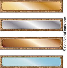 metal, placas, con, madera, marcos