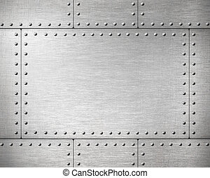 metal, placas, con, remaches, plano de fondo