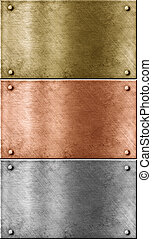 metal, placas, conjunto, incluso, bronce, (copper), oro, (brass), y, aluminio