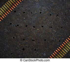 metal plade, hos, huller, af, kugler