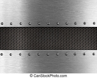 metal, plano de fondo, con, remaches