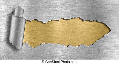metal, plano de fondo, rasgado, agujero