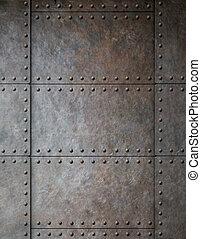 metal, plano de fondo, remaches, acero, armadura