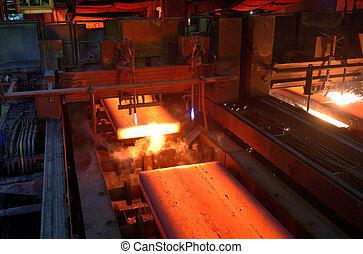 metal, planta, corte, gás, quentes