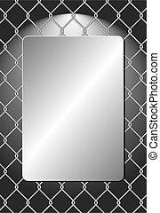 metal plaque on wire mesh background