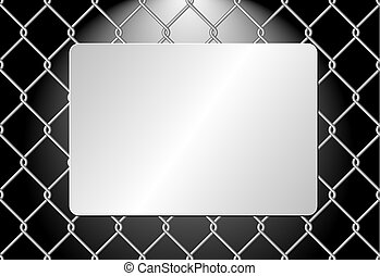 plaque - metal plaque on wire mesh background