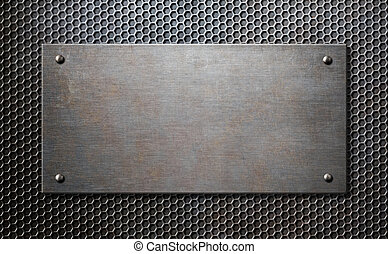 metal plaque with rivets over comb background 3d illustration