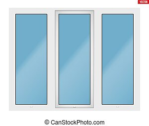PVC window with three sash - Metal plastic PVC window with...