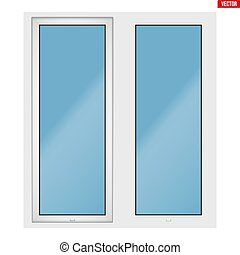 PVC window with two sash - Metal plastic PVC window with two...