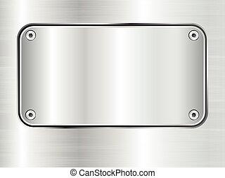 Metal plate background, steel nameplate with screws.