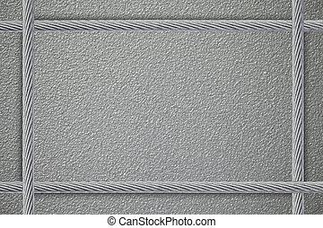 metal plate background with four steel strings