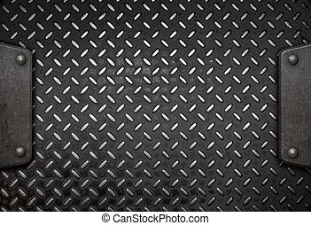 metal plate background with frame 3d illustration