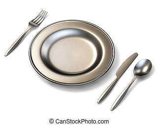 Metal plate, fork, knife and spoon side view 3D rendering...