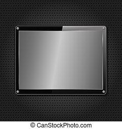 Metal plate on black background