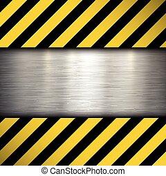Metal plate on warning stripes back