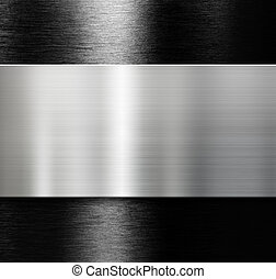metal plate over black brushed aluminum background - metal...