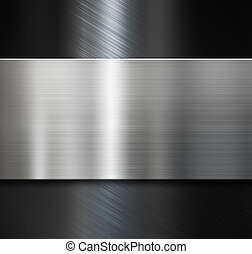metal plate over black brushed metallic background - metal...