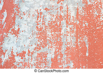 Metal plate with red paint peeling off texture