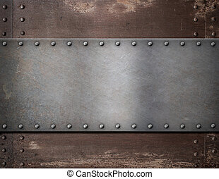 metal plate with rivets over rustic steel background - metal...