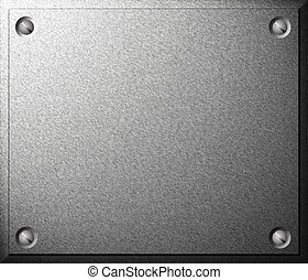 Metal plate with screws - Gray shiny metal plate with screws...
