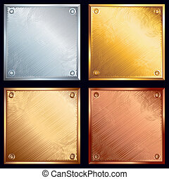 Metal plates - Metallic plates with screws. Gold, silver, ...