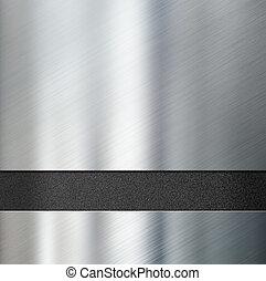 metal plates over black plastic background 3d illustration...
