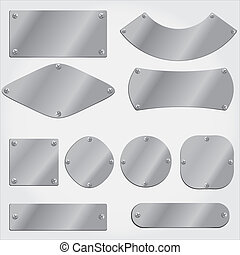 metal plates set, grouped objects, fully editable