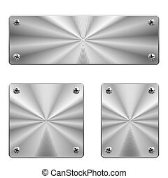 Metal plates. - Three shiny metal plates of different size...