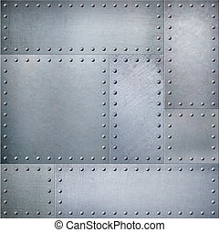 Metal plates with rivets steam punk background or texture -...