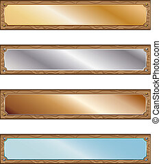 Metal plates with wood frames - Various metallic plates with...