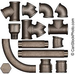 Metal plumbing pipes set