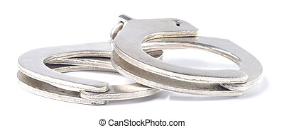 Metal police handcuffs isolated on white background