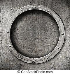 metal, porthole, fundo