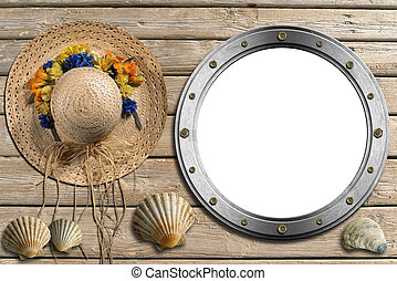 Metal Porthole on Wooden Boardwalk with Sand - Metal empty...