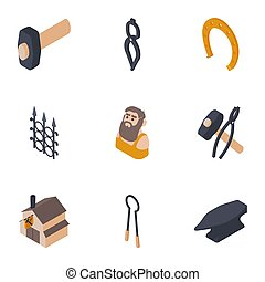 Metal position icons set, isometric style