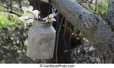 metal pot with wooden grip are swinging on the tree