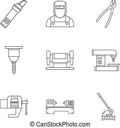 Metal processing equipment icon set, outline style