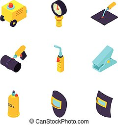 Metal processing icons set, isometric style