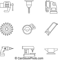 Metal processing tool icon set, outline style