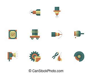 Metal processing workshop flat color vector icons