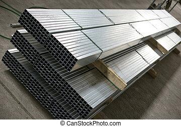 metal, producción, hoja, vestíbulo, perfiles