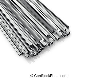 Metal products for building on a white background. Building materials. 3d illustration