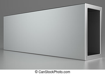 Metal products on gray background. 3d rendering.
