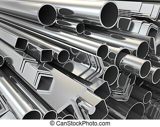 Metal profile and pipes on white background. 3d