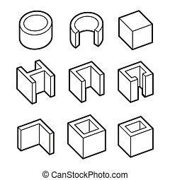 Metal Profiles  Icons Set. Steel Products. Vector