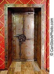 metal, puerta, banco