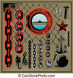 metal, puerto, cadena