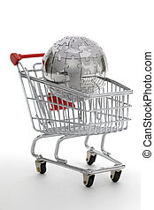 Metal puzzle globe with shopping cart, isolated on white...